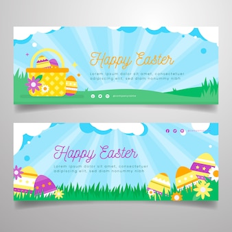 Flat design easter day banner collection concept