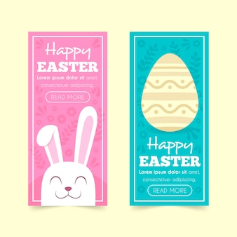 Flat design easter day banner collection theme