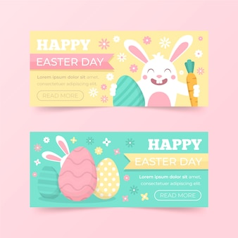 Flat design easter day banner collection