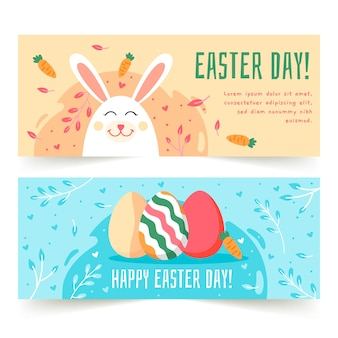 Flat design easter day banners set
