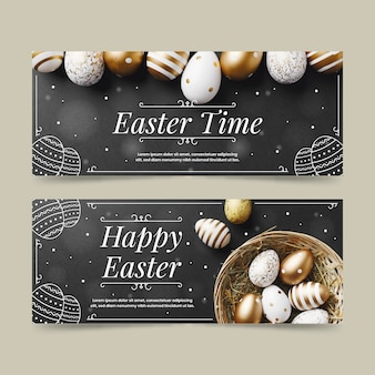 Flat design easter day banners template