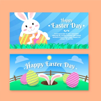 Flat design easter day banners