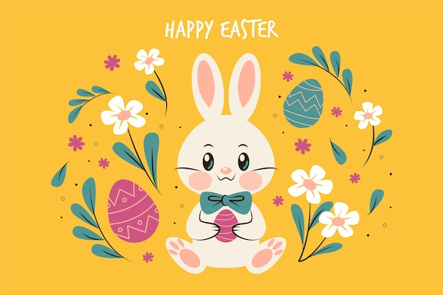 Flat design easter day bunny surrounded by flowers