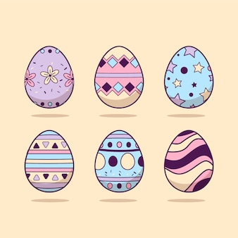 Flat design easter day egg collection