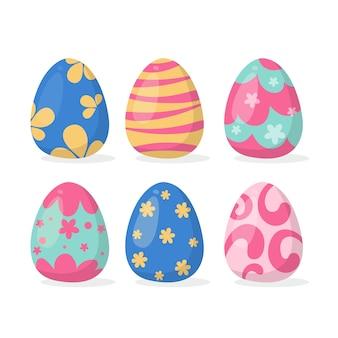 Flat design easter day egg set