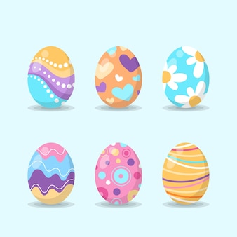 Flat design easter day eggs with dots and flowers