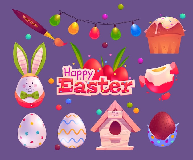 Flat design easter day elements