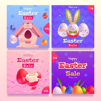 Flat design easter day instagram posts