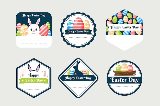 Flat design easter day label collection concept