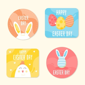 Flat design easter day label collection