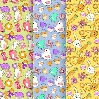 Flat design easter day pattern collection concept