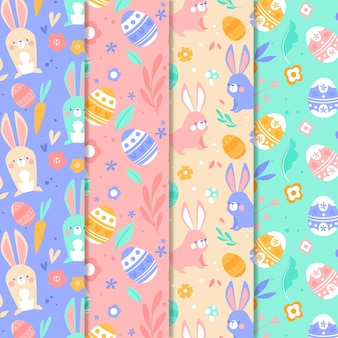 Flat design easter day pattern collection design