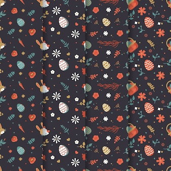 Flat design easter day pattern collection style