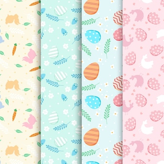 Flat design easter day pattern collection theme