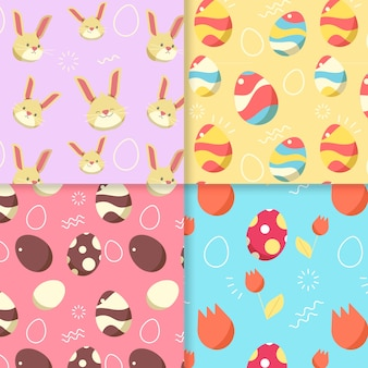 Flat design easter day pattern collection