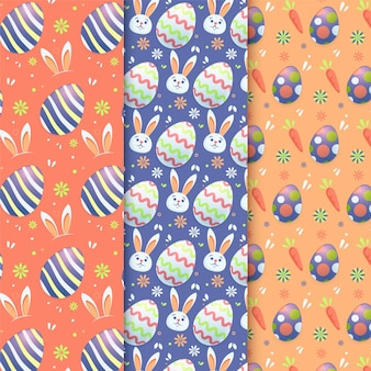 Flat design easter day pattern pack