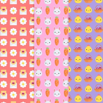 Flat design easter day pattern set