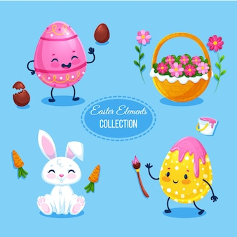 Flat design easter element collection