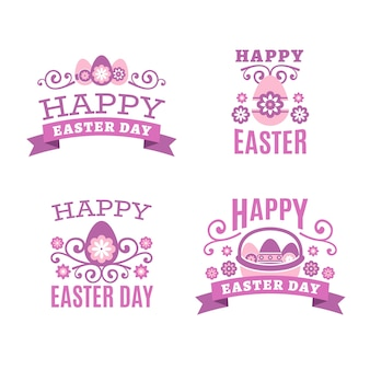 Flat design easter label lettering collection