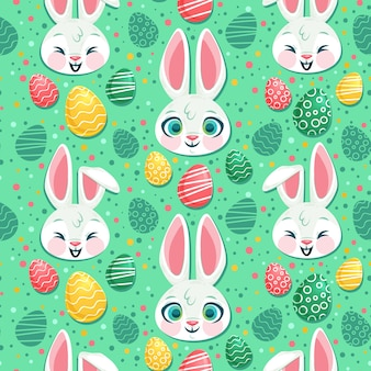 Flat design easter pattern concept
