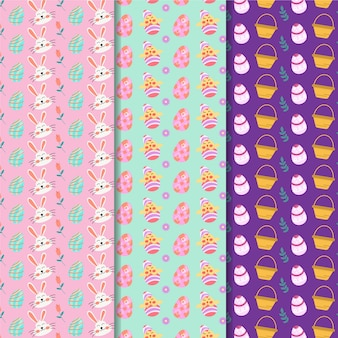 Flat design easter seamless pattern with bunnies avatars