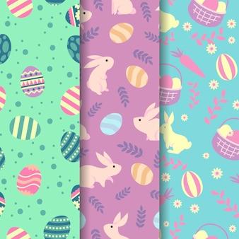 バスケットの卵とフラットなデザインイースターシームレスパターン
