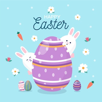 Flat design easter with big egg and bunnies