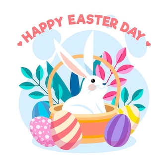 Flat design easter with bunny in basket