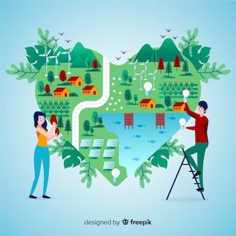 자연 요소와 평면 디자인 생태 개념