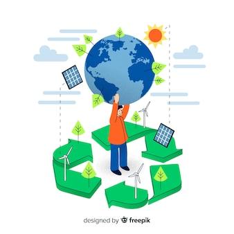 Concetto di ecologia design piatto con elementi naturali