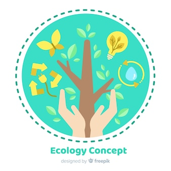 Flat design ecology concept with natural elements