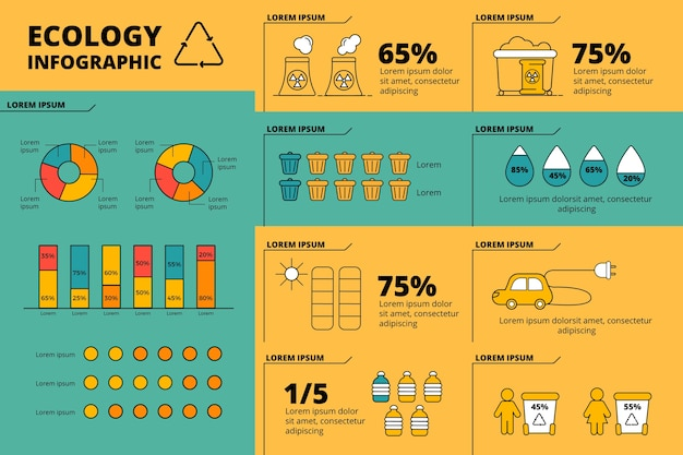 Flat design ecology infographic with retro colors