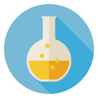 Flat design education and science chemistry bulb. back to school and education vector illustration. flat style colorful flask circle icon with long shadow. biology physics and research object.