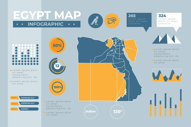 Flat design egypt map infographic