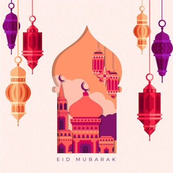 Flat design eid mubarak with lanterns and mosque
