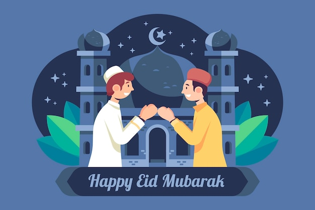 Flat design eid mubarak with men praying