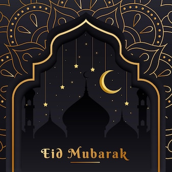 Flat design eid mubarak with moon over mosque