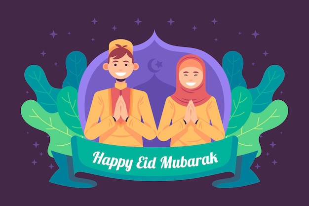 Flat design eid mubarak with woman and man praying