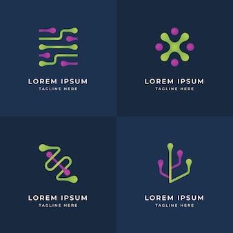 Modelli di logo di elettronica di design piatto