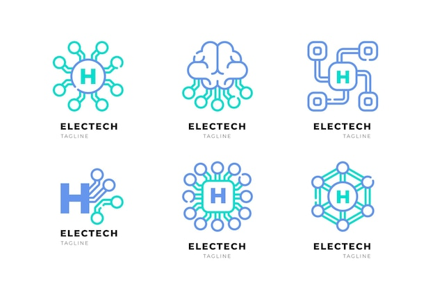 Плоский дизайн логотипа электроники