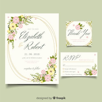 Flat design elegant wedding invitation template