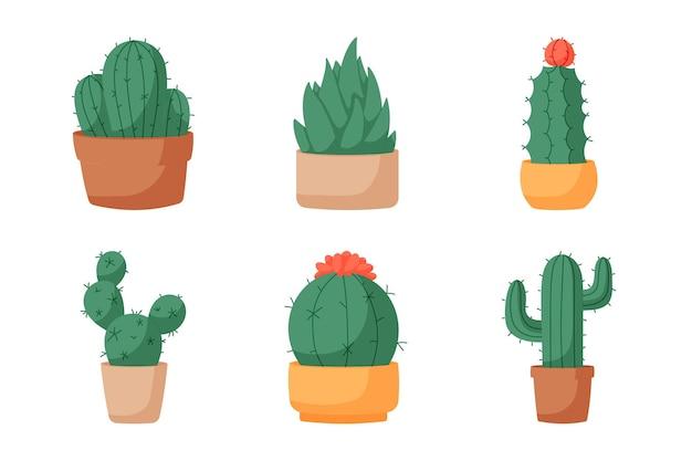 Flat design element cactus collection. set six elements