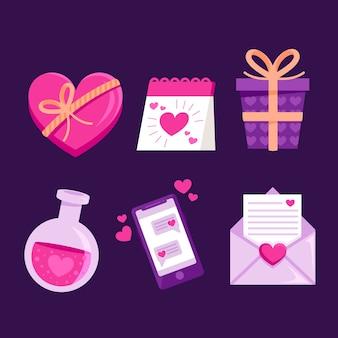 バレンタインデーのためのフラットなデザイン要素パック