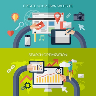 Flat design elements composition for website creating development process, web application