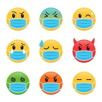 Flat design emoji with face mask pack