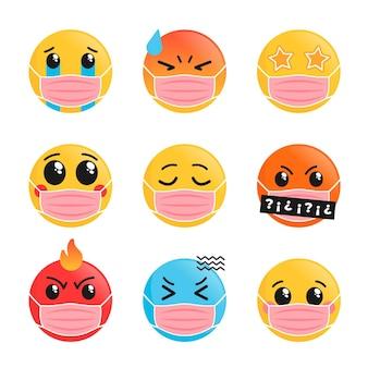 Emoji dal design piatto con pacchetto maschera facciale face