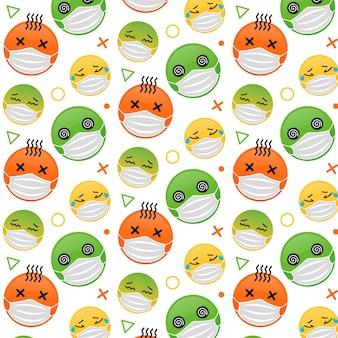 얼굴 마스크 패턴이 있는 평면 디자인 이모티콘