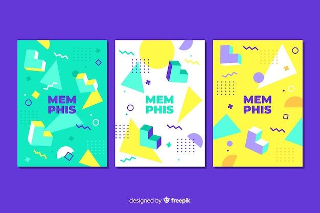 Flat design emphis cover collection