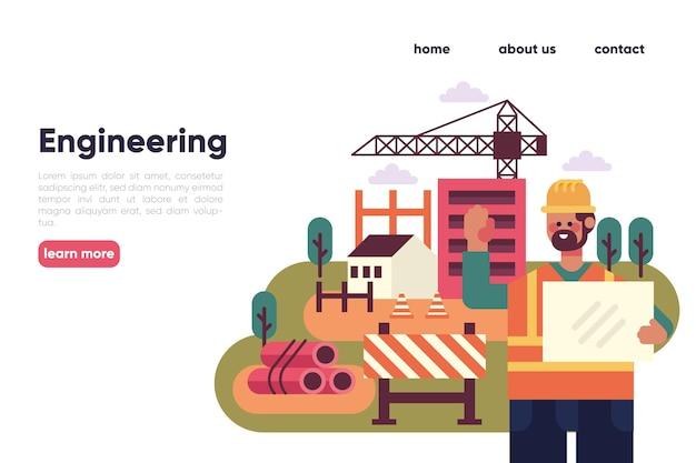 Ingegneri di design piatto che lavorano alla costruzione