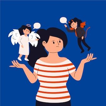천사와 악마가있는 평면 디자인 윤리적 딜레마